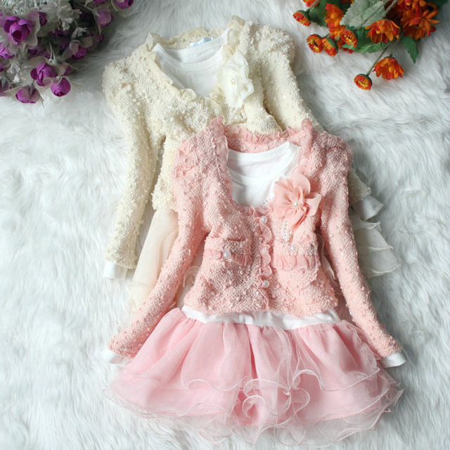 High quality 1 set Dresses and Coat Spring Autumn Clothes Children Dress Girls Dress