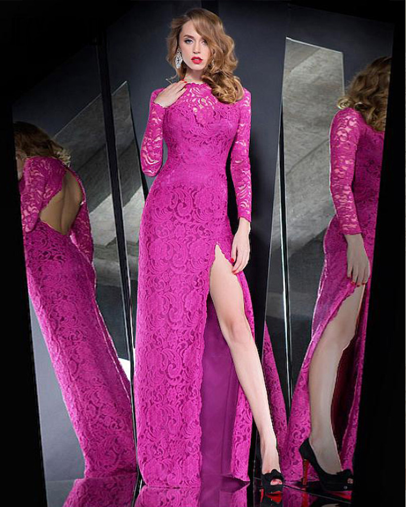 Robe De Soriee New Simple Wedding Dress Full Sleeve Lace: Magenta Lace Promotion-Shop For Promotional Magenta Lace