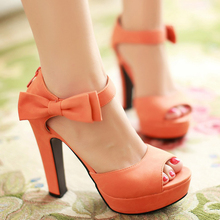 Big Size 42 43 Sweet Lady's Sandals Summer Peep Toe Ankle Strap Party Platform Wedges Female Zip Bow Knot Orange Shoes S-0C