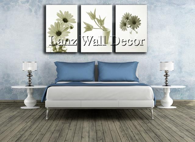 pas de cadre en bois fleurs de marguerite toile peinture wall art photos pour le salon. Black Bedroom Furniture Sets. Home Design Ideas
