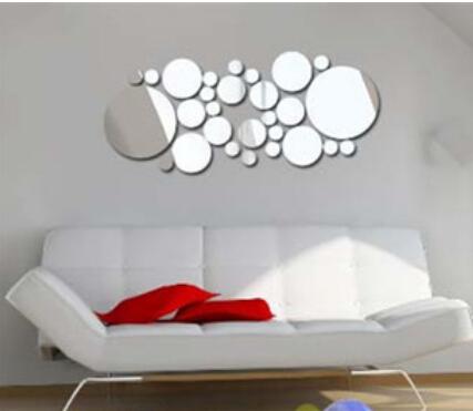 1set Simple Wall Stickers Diy Home Decoration Round Mirror Surface Sticker