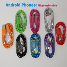 100cm 3ft braided Micro usb charger Cable Nylon durable data sync cord wire for Samsung S4 S3 Note 2 HTC XiaoMi Huawei LG Phones