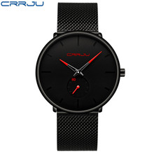 Новые мужские часы Топ Бренд роскошные часы из нержавеющей стали CRRJU тонкий кварцевые часы сетки наручные мужские часы Reloj Hombres Waterpro(Китай)