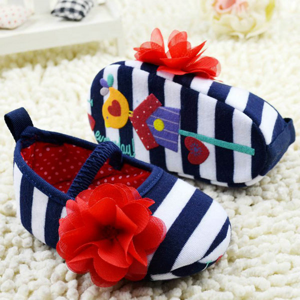 Baby first walker shoes Toddler Girls Flower Crib Shoes Soft Stripes Elastic Casual Party Baby Shoes