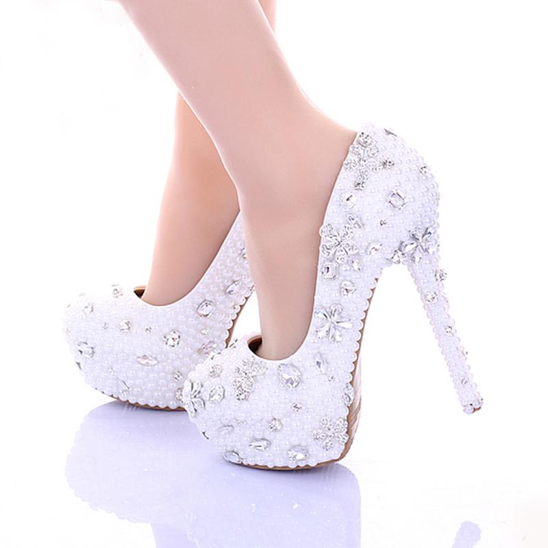 14cm High Heel White Pearl Wedding Shoes 2015 Women Pumps ...