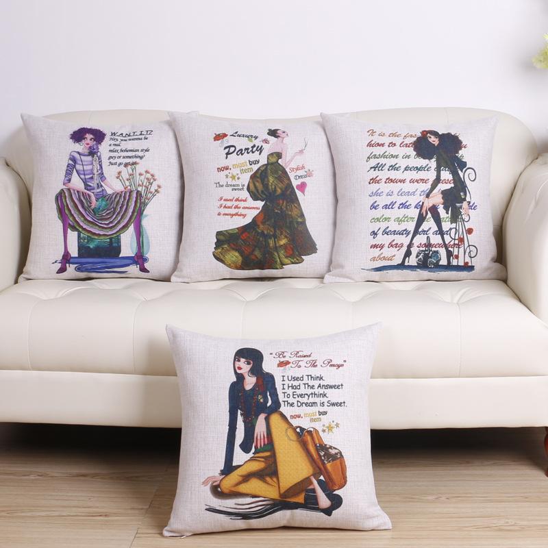 45cm Boho Morden Lady Fashion Cotton Linen Fabric Throw Pillow Hot Sale 18 Inch New Home Decor Sofa Car Cushion Office Nap FR