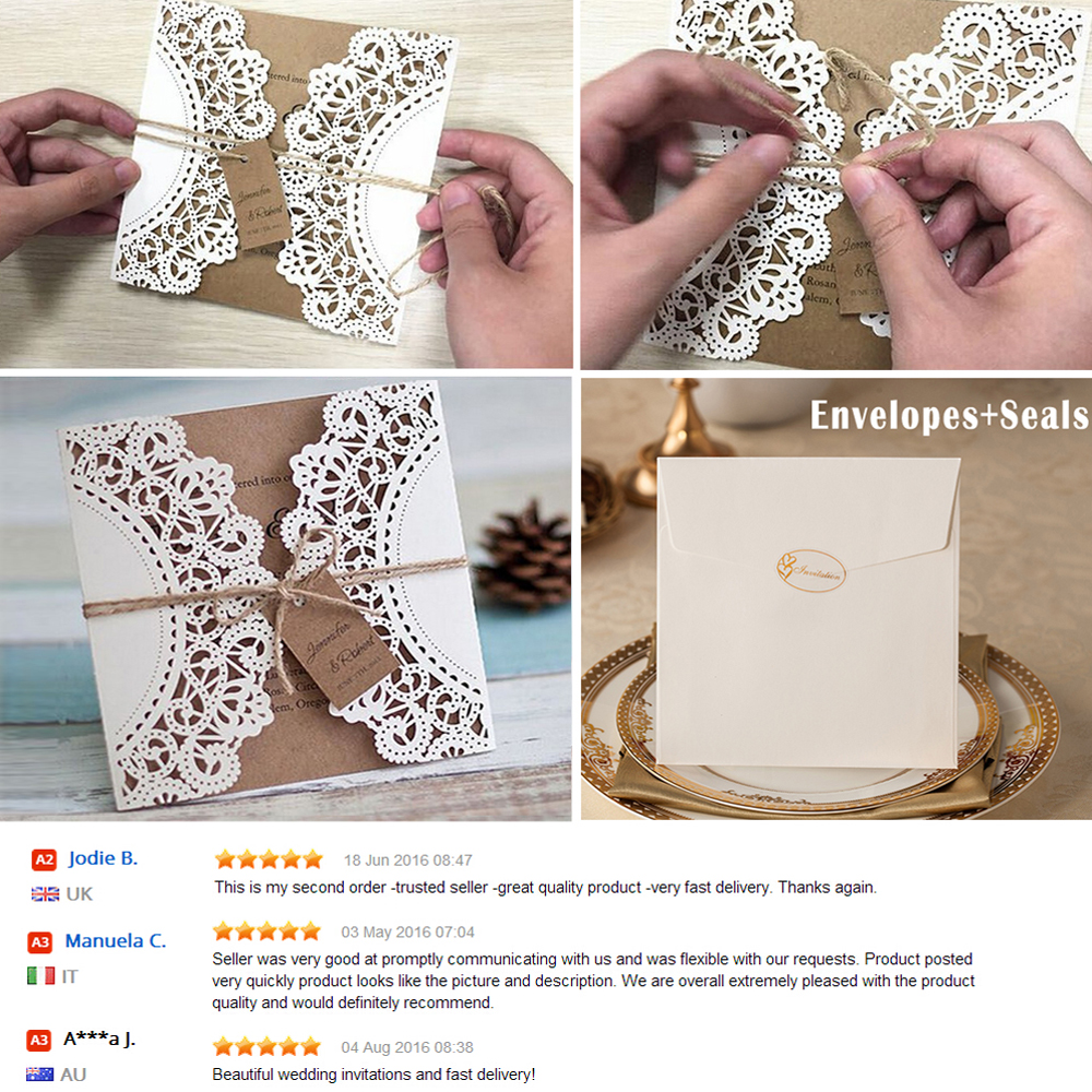 Us 5 5 Wedding Invitations Vintage Invitation Sample Kraft Paper Wedding Cards Sample With Name Tag In Cards Invitations From Home Garden On