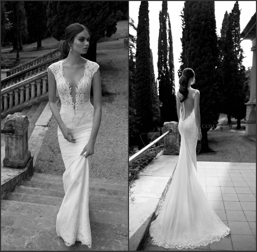 Bridal Gowns With Lace Cap Sleeves: 2014 Berta Bridal Gown Pearls Lace Bodice Deep V Neck