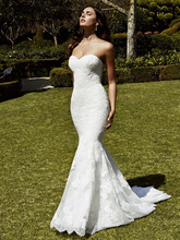 2016 New Arrival Sweetheart Mermaid Wedding Dress Backless Lace Floor Length Applique font b Vestido b
