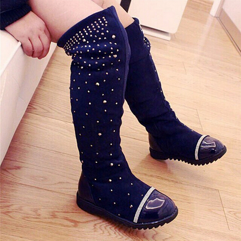 Fashion Children Motorcycle boots Autumn Winter Girls shoes Over the Knee boots PU Crystal Kids High