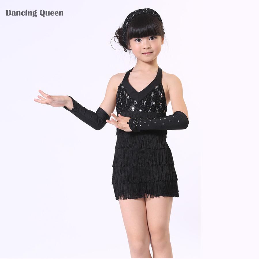 latin dance dress for girls black rose tassel sequins salsa dance
