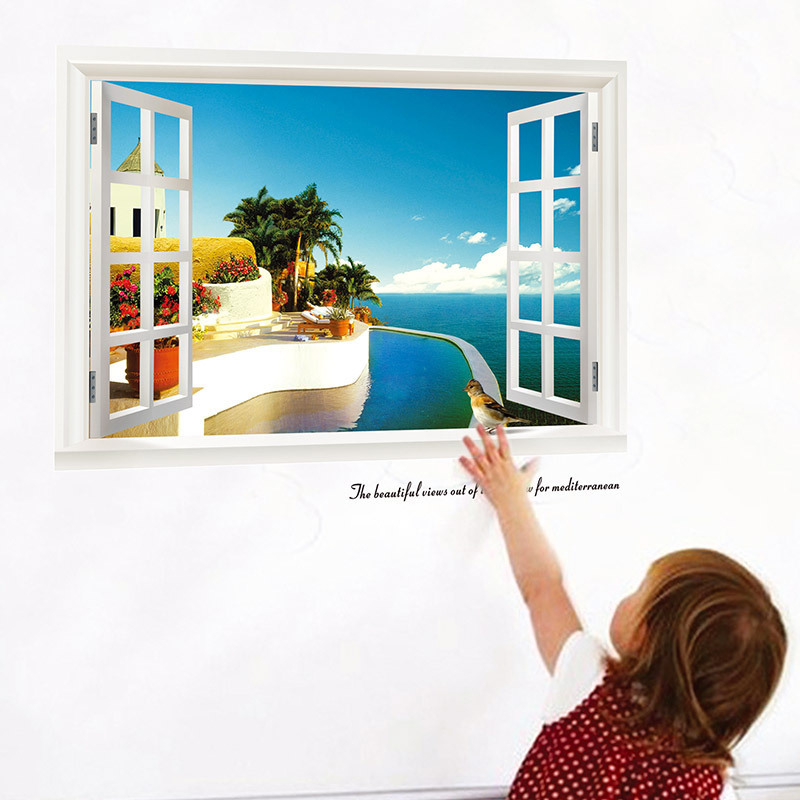 wall stickers The new 3D window room Seaview background waterproof removable wall sticker wholesale