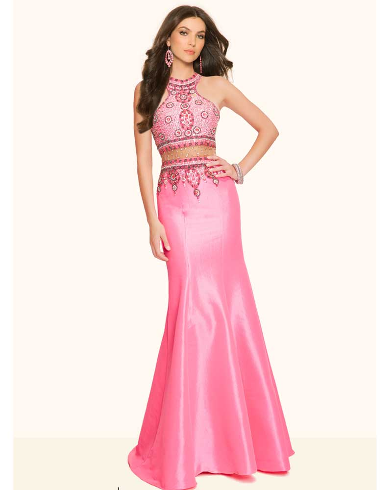 Pink Mermaid Prom Dress Luxury Sparkly Beading Long Prom