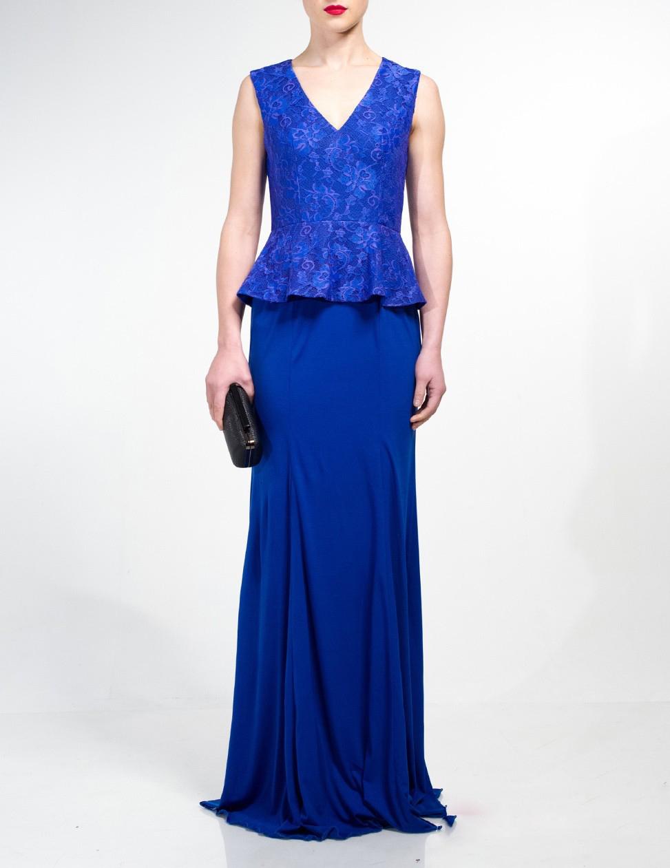 Royal Blue Lace V neck Women Gown Vestidos de baile Long ...