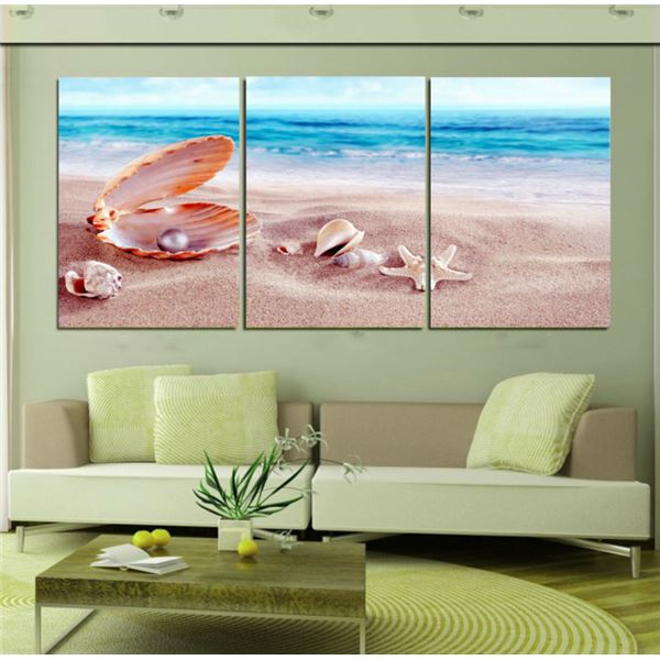 3 Panels Home Decoration Beach Shell Pianting Wall Art Landscape Canvas Print Painting Home Decoration Framed Art T/950