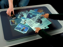 17″ 2 touch points capacitive multi touch foil / interactive touch foil for shop window display