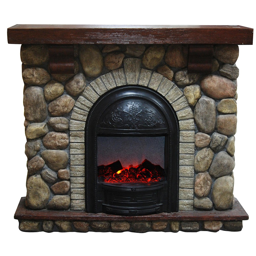River Stone Faux Rock Electric Fireplace Compact Suite