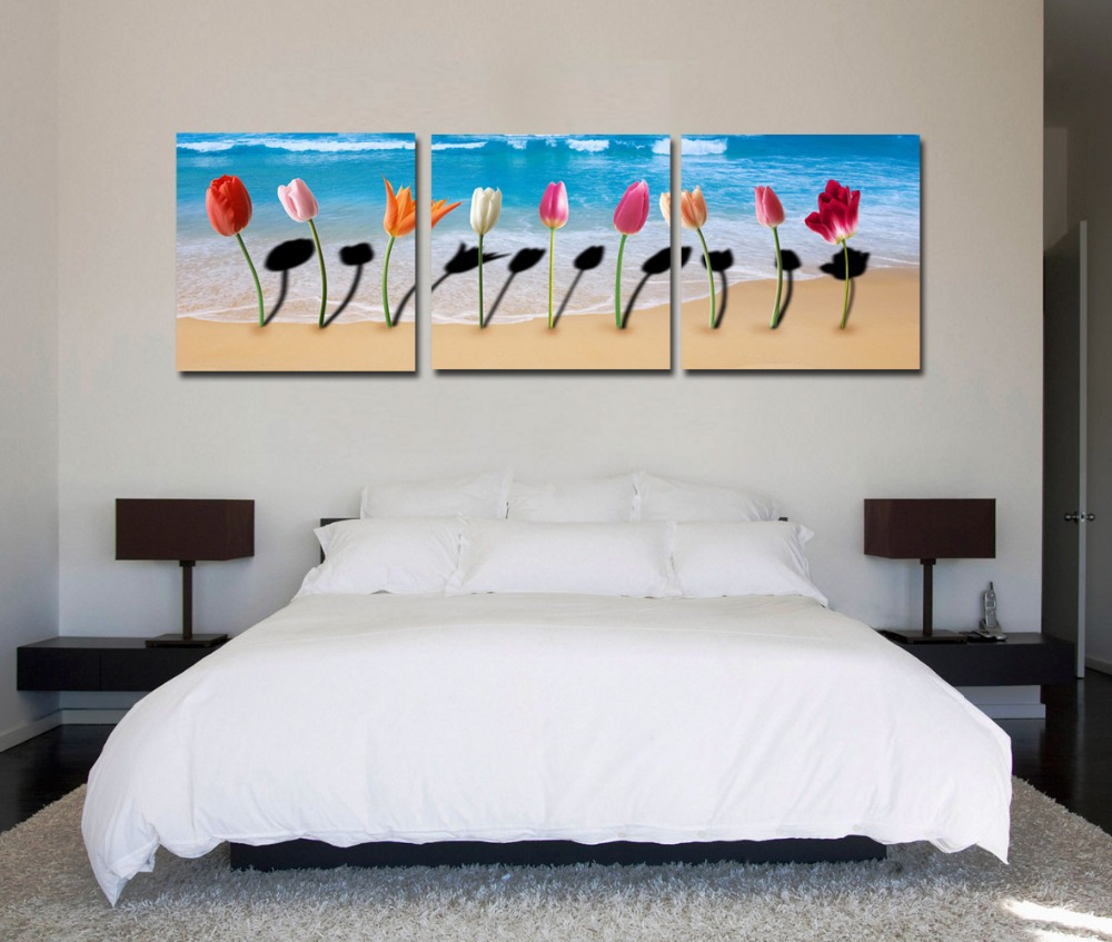 2014 top fashion modern oil painting art pictures prints on canvas 3 pcs flower beach home room wall decoration no frame cy-767