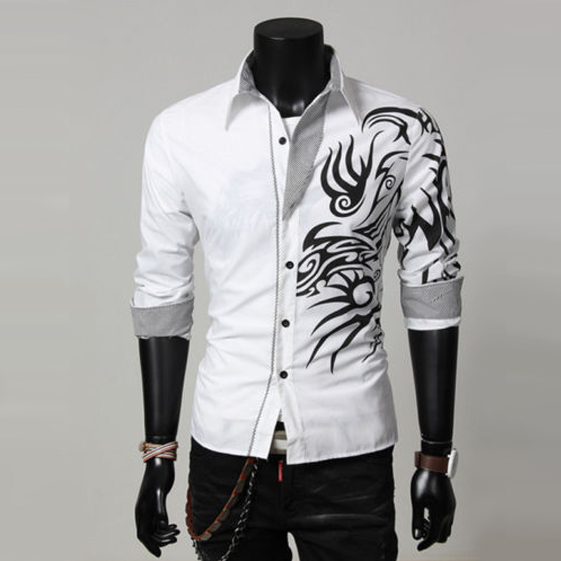 Новый мужская мода роскошные свободного покроя уменьшают подходящие стильный длинным рукавом одежда рубашки печать