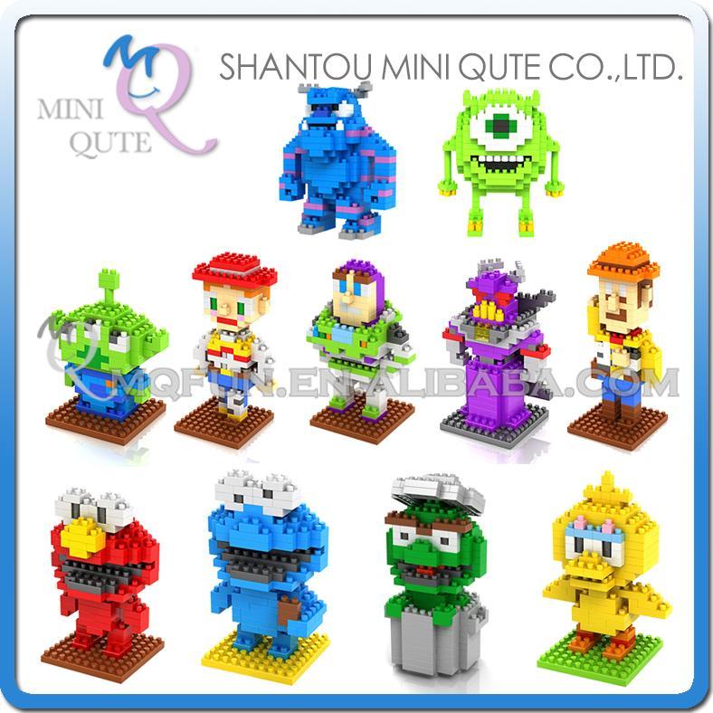 Mini Qute WTOYW loz kawaii Sesame Street Monster University Sulley Mike Toy Story Buzz woody building