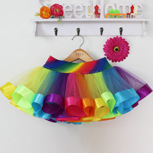 Rainbow Skirt Children Clothing Toddler Birthday Tutus Skirt Summer Cheap Tulle Skirt