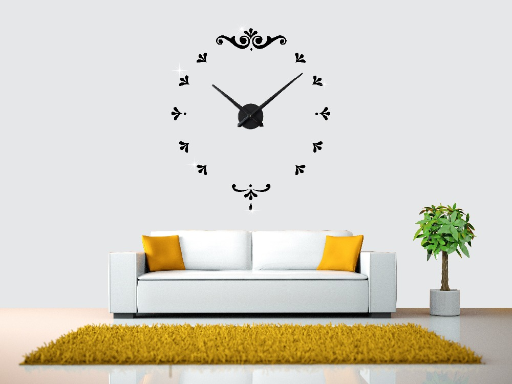 2016 Hot Fashion Home Decor Wall Clock Acrylic Mirror