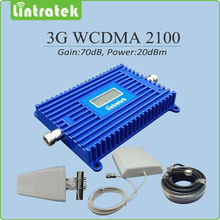 Free ship 3G WCDMA Signal Repeater Gain 70dB LCD display UMTS HSPA 2100mhz WCDMA signal booster with Antenna and cable