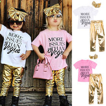 3pcs Kids Baby Girls Outfits Set Headband T shirt Leggings Pants Clothes 2 7Y