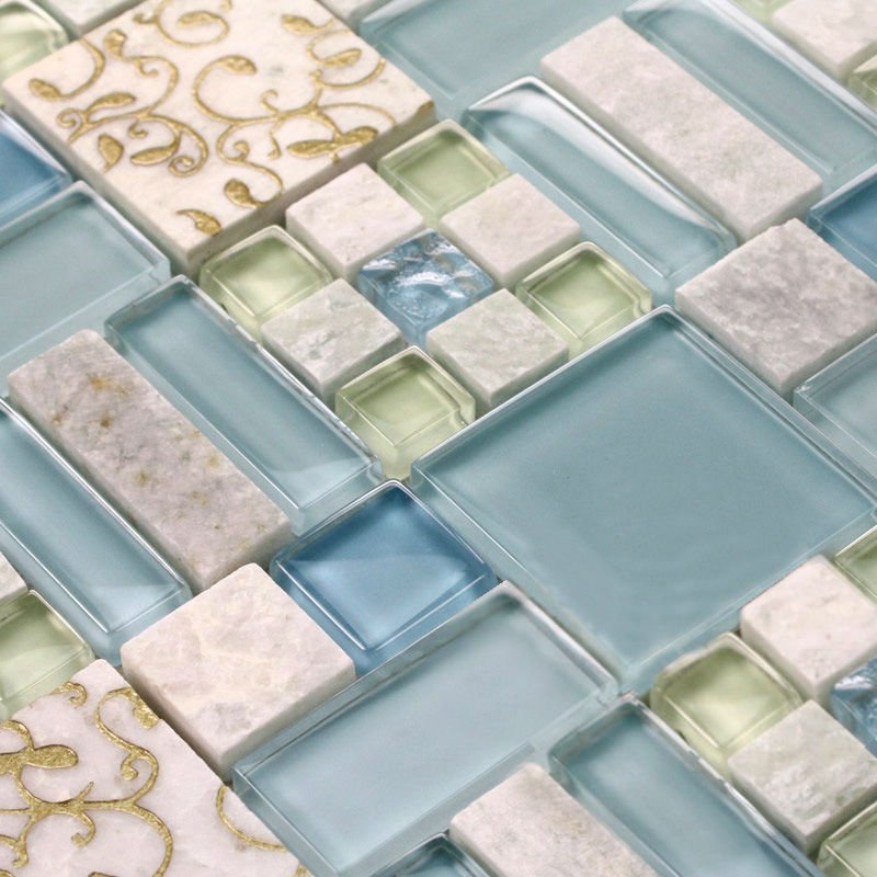 natural stone mosaic tile bathroom shower wall stickers ...