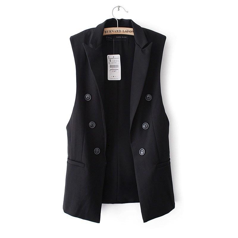 Женщин жилет пальто панк дизайн двубортная без рукавов свободного покроя куртка женщины марка дамы жилет colete feminino