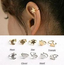 New Fashion star moon heart clip stud earring gift for women girl Wholesale E2644