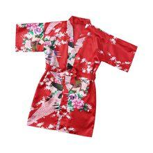 Новый детский шелковый халат с цветочным рисунком, кимоно, халат подружки невесты, платье с цветами для девочек, детский банный халат, одежд...(Китай)