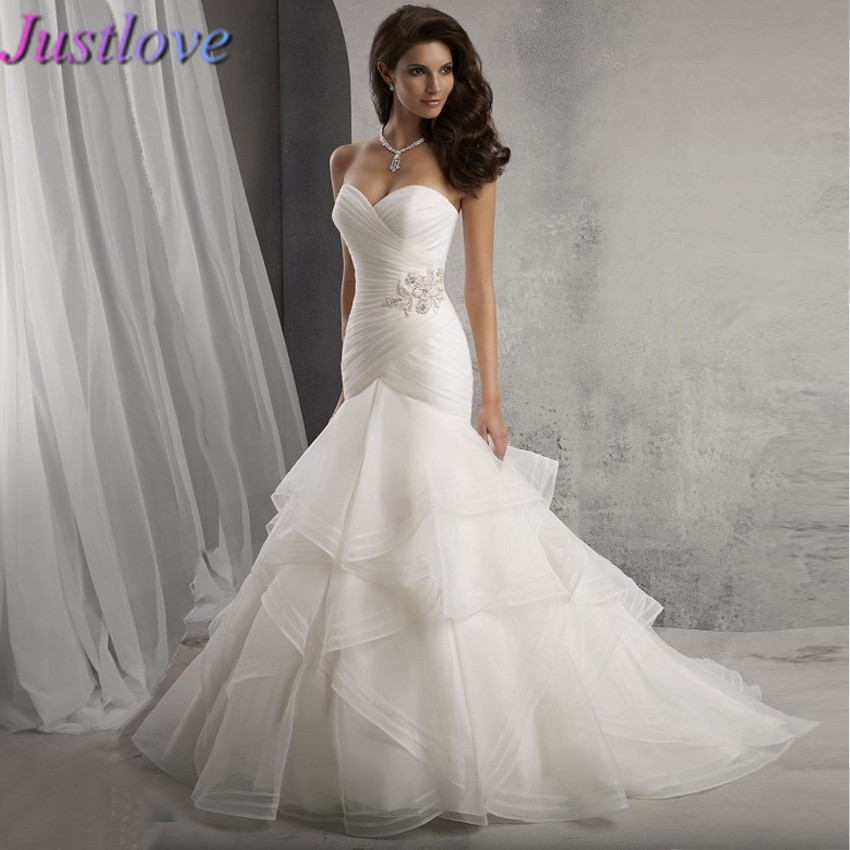 Organza Wedding Gowns: Elegant Sweetheart Off The Shoulder Pleated Organza Ruffle