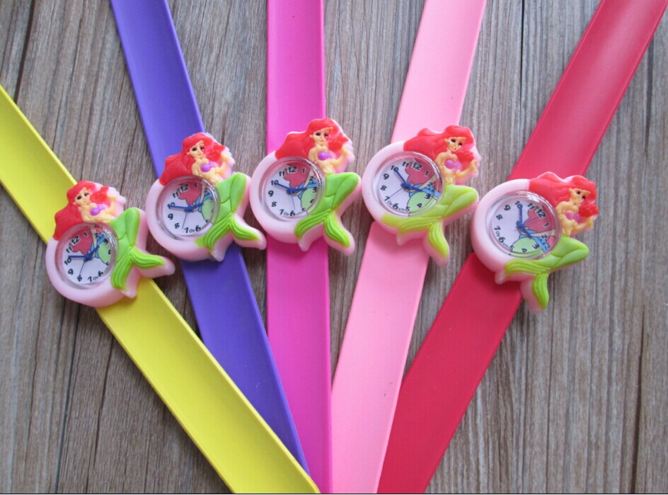 10pcs 3D Cartoon Little Mermaid Lovely Kids Girls Quartz slap Watch fashion silicone watch for birthday gift