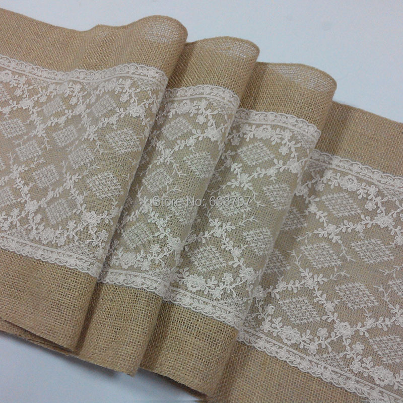 Burlap and lace table runner for rustic wedding/ home/ banquet-in ...