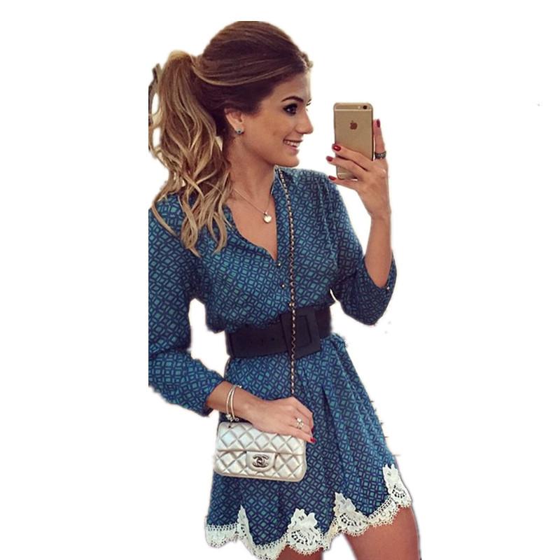4f6978f53 Se%C3%B1ora-nuevo-llega-Vestidos-mujeres-moda-Casual-Vestido -con-cuello-en-v-Vestido-de-verano-de