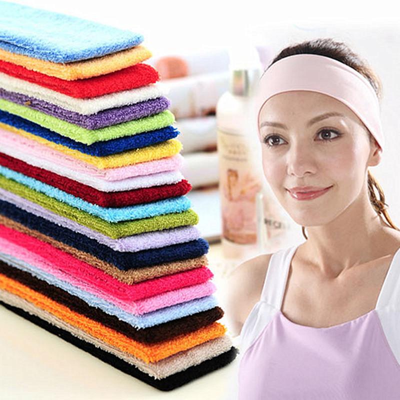 Free Shipping Candy color towel hair bandsUnisex Stretch Headband Gym Yoga  Cotton Exercise Sports Sweat women 0da046cc0e5