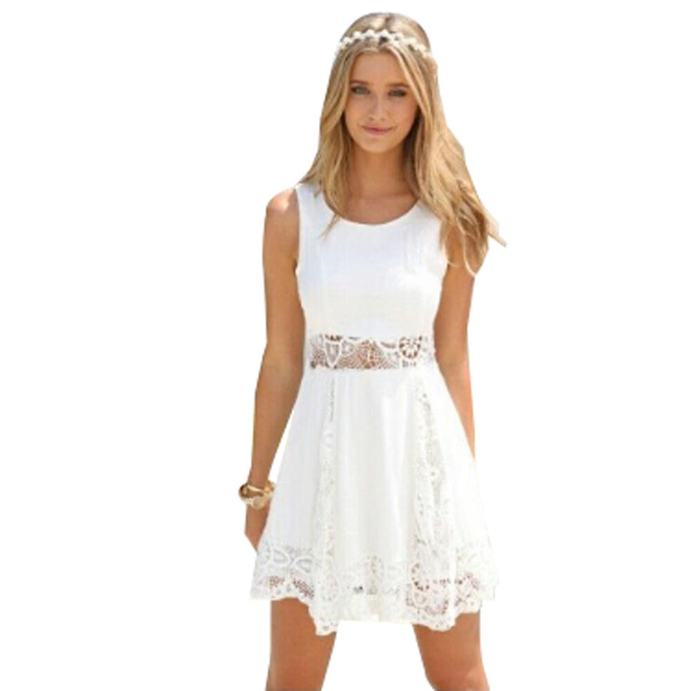 2015 Elegant Women Summer White Dress Casual Dresses ...
