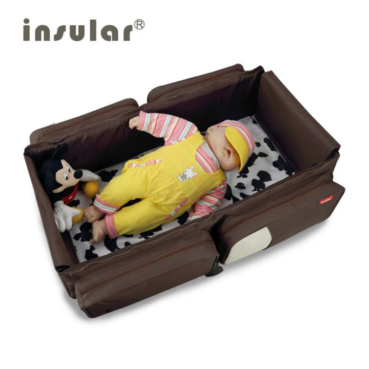 New Arrival 2 in 1 Multifunctional Travelling Baby Diaper Bag Fold Baby Bed Changing Bags Mommy
