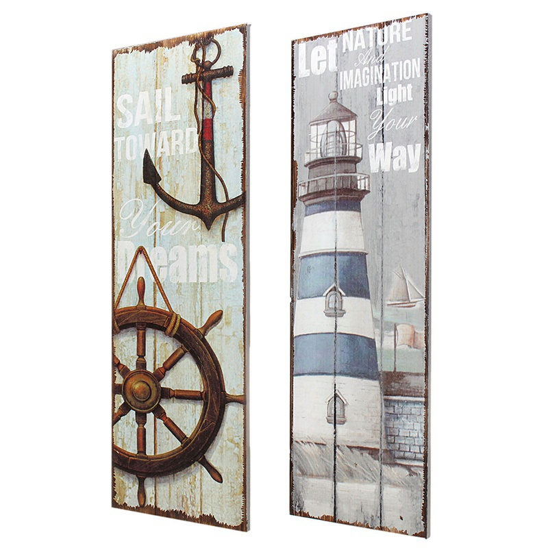Retro Mediterranean Style Vintage Nautical Wooden Sign Plaque Art Picture Lighthouse Design for Home Wall Decoration Wood Crafts