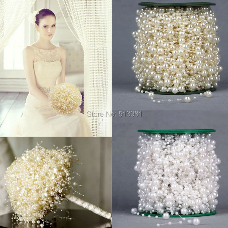 5 Meters Fishing Line Artificial Pearls Beads Chain Garland Flowers Wedding Party Decoration Products Supply Beige