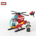 GUDI Fire Rescue Helicopter Blocks for Children Assembled Small Particles Blocks Toys Christmas Gift Model Building