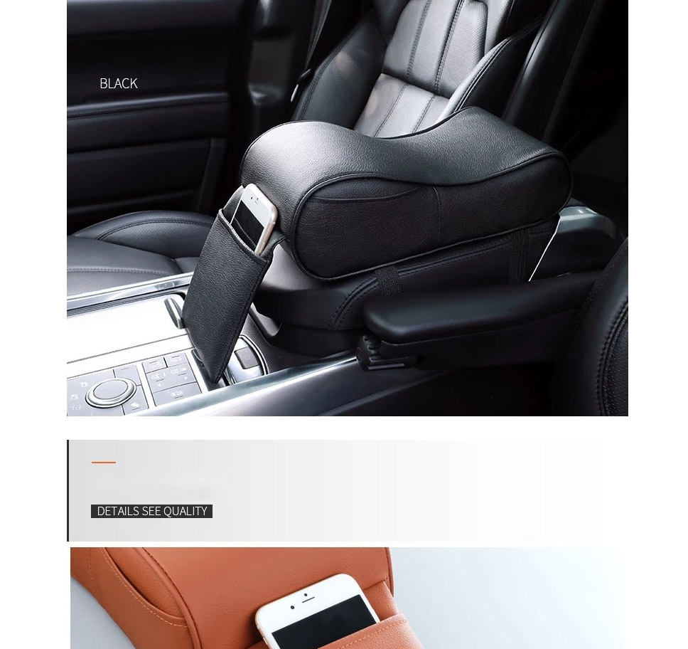 Leather Universal Car Auto Armrests Pad Center Console Arm Rest Seat Box  Pad Vehicle Protective Car Styling Black