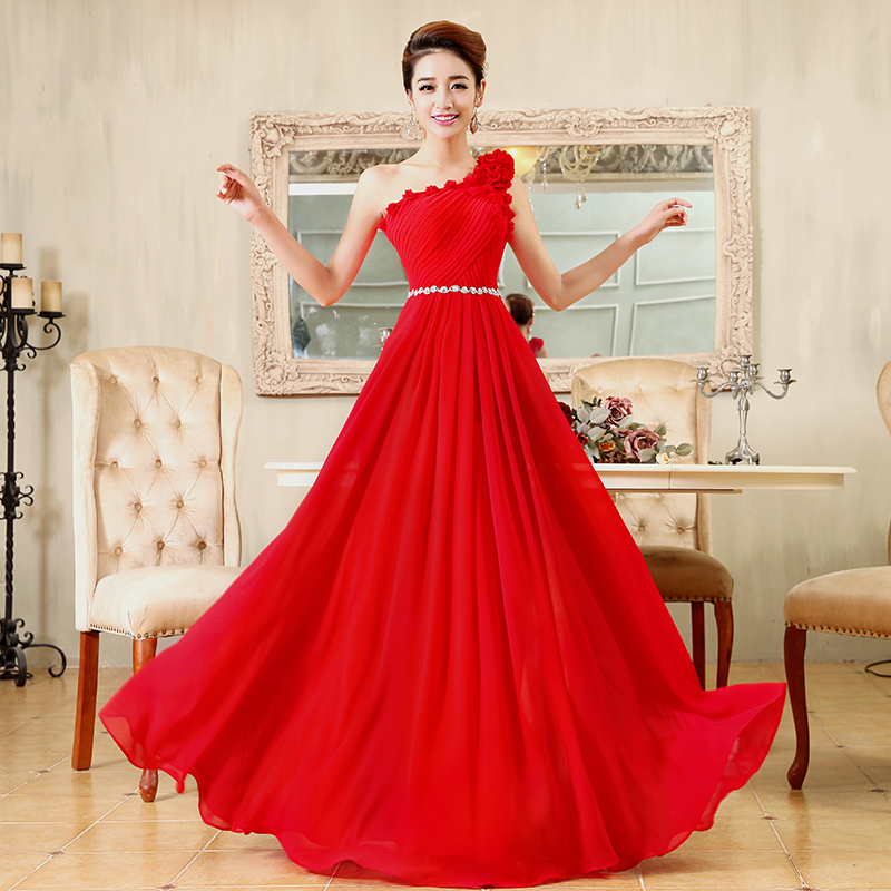 tslyzm dress new marriage ceremony Ms summer long paragraph bridal wear red shoulder toast clothing chaired - Wedding Ceremony Paragraph