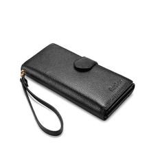 Женский кошелек REALER, Длинный кошелек из натуральной кожи с ремешком на руку, карман для телефона на молнии, карман для монет, кредитная карта(Китай)