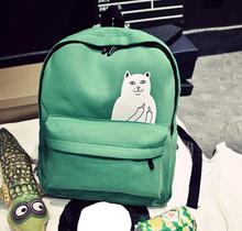 New Women Canvas Backpack Cute Cat Middle Finger Backpack High School Students Shoulder Bag Casual Travel Bag Rucksack L1