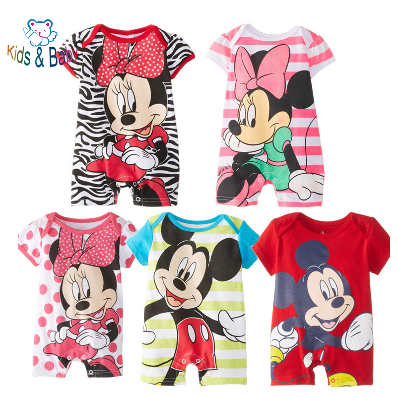 Baby&Kids Short Sleeve Mikey Minnie Cartoon Baby Romper Baby Girl Cute Clothes Infant Newborn Baby Custume Jumpsuits Clothing