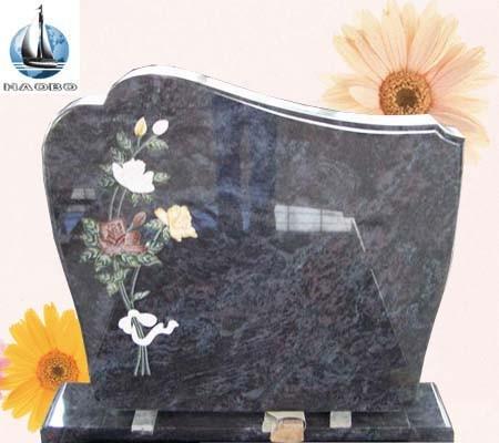Bahama Blue Granite Upright Headstones With Flower