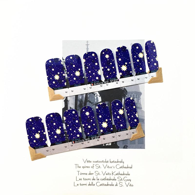 Blue Yellow star Nail Arts Nail Sticker Waterproof Nail Decal Sticker Gel Polish French Manicure Patch