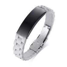 ZORCVENS, черный силиконовый браслет из нержавеющей стали, мужской браслет в стиле панк, новый дизайн, мужской браслет, простая резиновая подвес...(Китай)